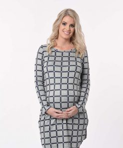pregnant woman in grey maternity dress